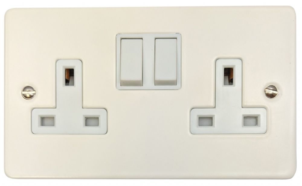 G&H FW10W Flat Plate Matt White 2 Gang Double 13A Switched Plug Socket